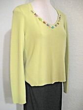 Studio Liz Claiborne Pullover Sweater Top Size Large Green Long Sleeves #617