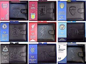 DEBOSSED CREST RFID ANTI-FRAUD REAL LEATHER - FOOTBALL BOXED MONEY WALLET PURSE