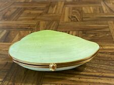 Vintage Green Clamshell Chamart Limoges France Jewelry Box Gold Clasp Peint Main