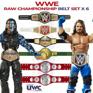 Custom WWE WWF Raw Championship Belts x 6 for Mattel/Jakks Figures