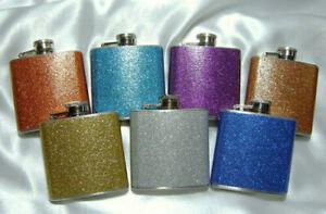 ⭐⭐⭐⭐New Hip Flask 7oz 8oz Plain Glitter Various Amazing Colours Whisky Flasks UK