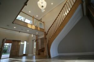 Ash ,Oak bespoke banister and handrail,curved ,stair, made to measure joinery