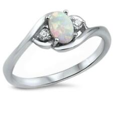 Zirconia 925 Sterling Silver Choose Color Fashion 3-Stone Ring Oval Round Cubic