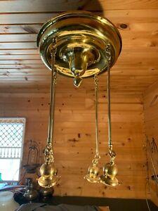 Vintage Brass 4 Light Art Nouveau Chandelier Ceiling Fixture circa 1920s