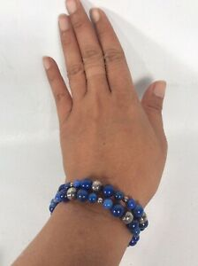 Carolyn Pollack Sterling Silver 925 Lapis  stamp Pearl  beads Coil bracelet
