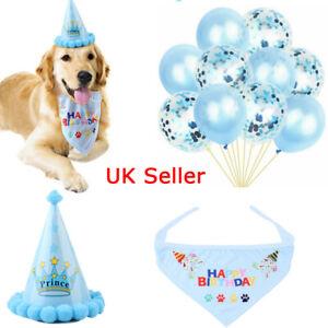 Dog Cat Pet Birthday Hat Headwear Bandana Neckerchief Ties Baby Boy Party Blue