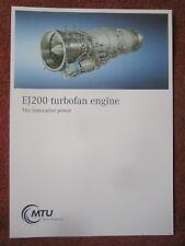 2017 DOCUMENT RECTO VERSO MTU EJ200 TURBOFAN ENGINE EUROFIGHTER TYPHOON