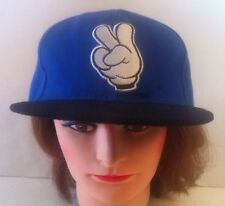 Vintage UH Peace Snap Back Trucker Style Hat Adjustable Blue and Black