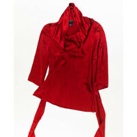 Natori Solid Red 100% Silk Satin Cowl Neck Belted Half Sleeve Blouse Shirt Top S