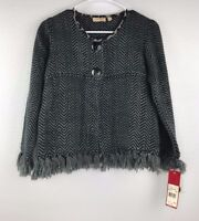 NWT Ladies Choices Petite Fringe Sweater Size PS Gray Black ($65)