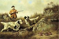 Oil painting young man hunter with dogs Hound birds in landscape free shipping