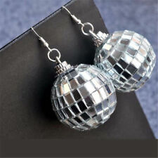 Charm Women Oversized Sparkling Round Ball Dangle Earrings Hip Hop Jewelry Gift Silver 6cm