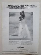 1987 PUB MARTIN BAKER EJECTION SEAT ESCAPE SYSTEM PILOT + 5570 LIVES SAVED AD