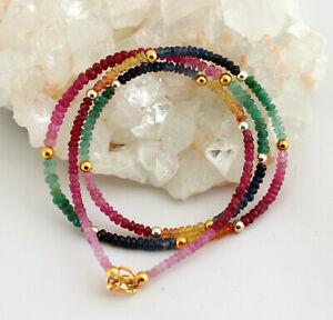 Ruby Sapphire Emerald Necklace Precious Stone Rainbow Colourful Approx. 60 CM