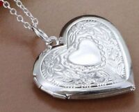 Necklace Locket Heart 925 Sterling Silver Photo Charm Pendant Women's Jewelery