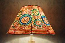 Large Leather Lampshade Painted in Floral Pattern | Handmade Unique Lampshade