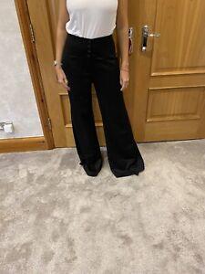 Chanel Black Wide Leg High Waist Wool Trousers/40/uK 12/immaculate