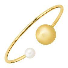 8 mm Freshwater Pearl & Bead Cuff Bracelet in 14K Gold