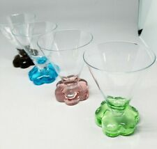 4 Cordial Drink Glasses 5 oz Circleware Colored Flower Shaped Base
