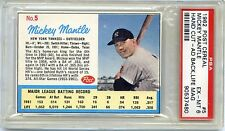 1962 POST #5 MICKEY MANTLE HAND CUT AD BACK PSA 6 EX-MT NY YANKEES HOF