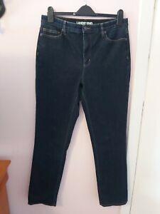 "Ladies Lands End UK 14/16 W35"" Dark Denim Straight Cut Jeans"