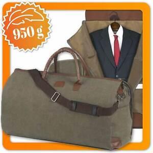 Snugs Weekender Reisetasche mit Kleidersack Kleidertasche Canvas-Baumwolle Leder