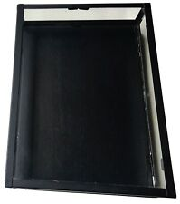 Glass Collectors Showcase Display Case Black Wood Metal Frame By Hampm New