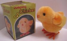 Darling Old Plush Wind Up Toy Baby Easter Chick Hops & Peeps w Box 1960s-70s