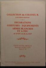 Catalogue de vente 1979 Drouot Salle N°10 Décorations Coiffures Equipements