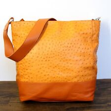 LARGE FURLA OSTRICH ORANGE GENUINE LEATHER HOBO TOTE SHOULDER BAG HANDBAG PURSE