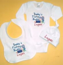 Personalized Baby Daddy's Fishing Buddy HAT BIB & CREEPER T-Shirt SET Outfit