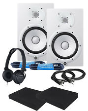 "Yamaha HS8W White 8"" Powered Studio Monitor Speaker CABLE KIT **NEW**"