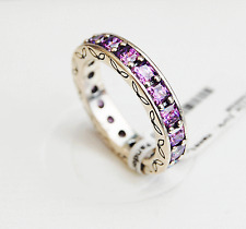 "Genuine Pandora Silver Ring ""Purple Infinity"", Stackable - 190894CFP Size 52"