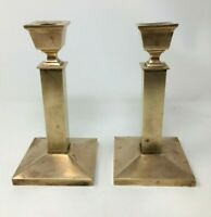 Pair of Heavy Vintage Brass Candlestick Holder Square Mid Century Classic