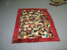 "Antique American Handmade Crazy Quilt Coverlet Velvet Border 53"" x 38"""