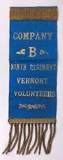 Civil War Veterans Blue Company B Ninth Regiment Vermont Volunteers Fabric Pin