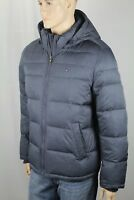 Tommy Hilfiger Blue Grey Ultra Loft Hood Ski Puffer Coat Wind Resistant NWT $225