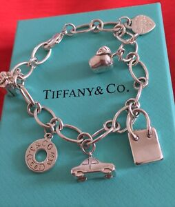 *REAL* STERLING SILVER 925 TIFFANY AND CO BRACELET WITH 6 CHARMS, POUCH AND BOX