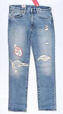Levi's Cock Men's 511 Slim Fit Zip Skinny Jeans Blue Denim Destroyed Stonewashed