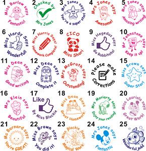 Custom Made School teacher Merit homework Custom name rubber stamp self inking