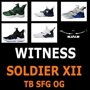 """MENS NIKE LEBRON SOLDIER XII 12 SFG TB """"WITNESS"""" BLACK WHITE BLUE GREY AT3872"""