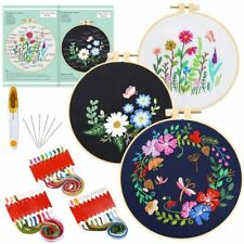 83pcs Beginner Cross Stitch Kit Colorful Thread Embroidery Tool Bundle With Hoop
