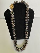 Genuine Fresh Water Black Pearl Necklace And Bracelet Set