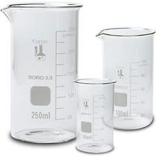 Glass Beaker Set, Tall Form - 3 Sizes - 50, 100 and 250ml Glassware & Labware