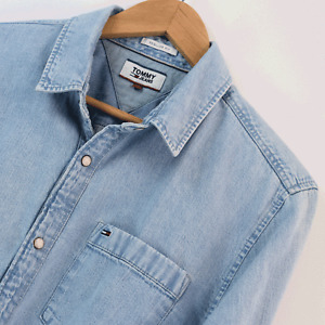 Mens Tommy Jeans Hilfiger Blue Denim Regular Fit Long Sleeve Shirt M Medium