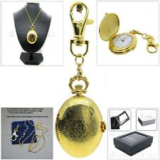 GOLD Oval Women Pendant Watch 2 Ways with Key Chain and Necklace Gift Box L34