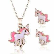 Women Girl Lovely Cute Pink Horse Pendant Necklace Stud Earrings Jewelry Set New