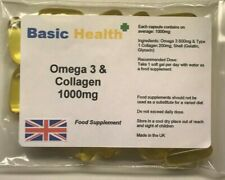 Omega 3 & Collagen Capsules x 30 1000mg One Month Immune System Bones Joints