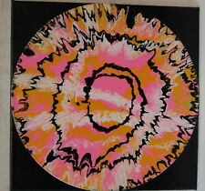 "12"" Lp Mounted Art Acrylic Paint Pour Painting Swirls Pink Gold Black"