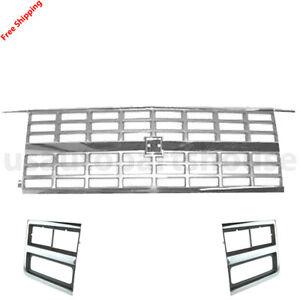 For 89-91 CHEVROLET BLAZERV 2500 Front Chrome Grille & Headlight Lamp Bezel 3pc